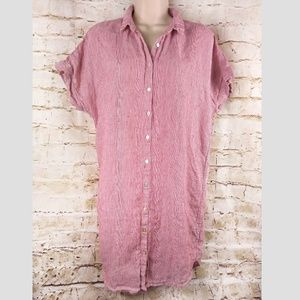 TAHARI Red White Linen Button Down Shirt Tunic M